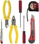 Набор инструмента (бокорезы, плоскогубцы, нож технический, 2 отвертки, отвертка индикаторная, рулетка 3м), 7 предм., КОНТРФОРС, 140012