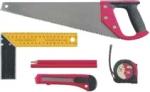 Набор инструмента (ножовка 450мм, рулетка 3м, нож технический 18мм, угольник 200мм, карандаш 180мм - 2 шт, 6 предм., КОНТРФОРС, 140040